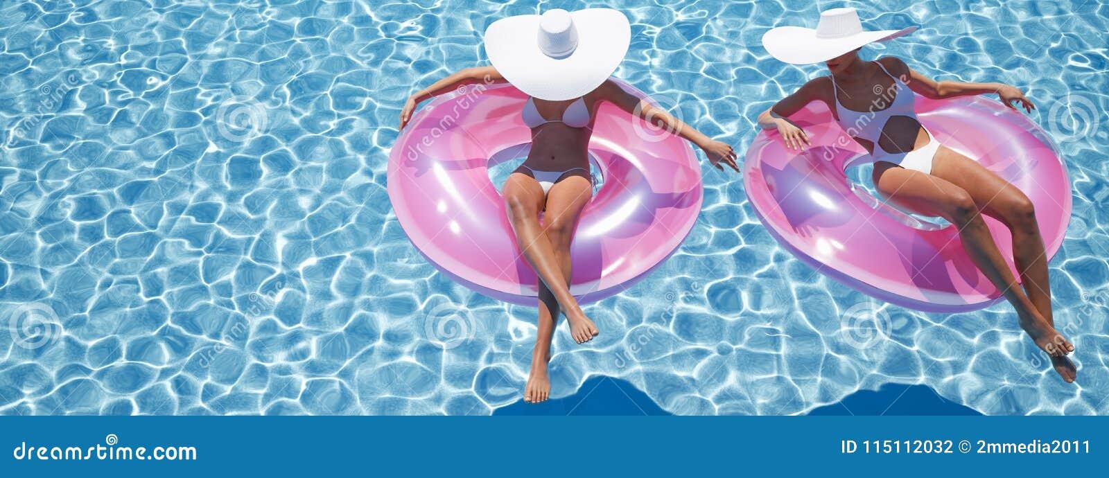 Women swimming on float in a pool. 3d rendering