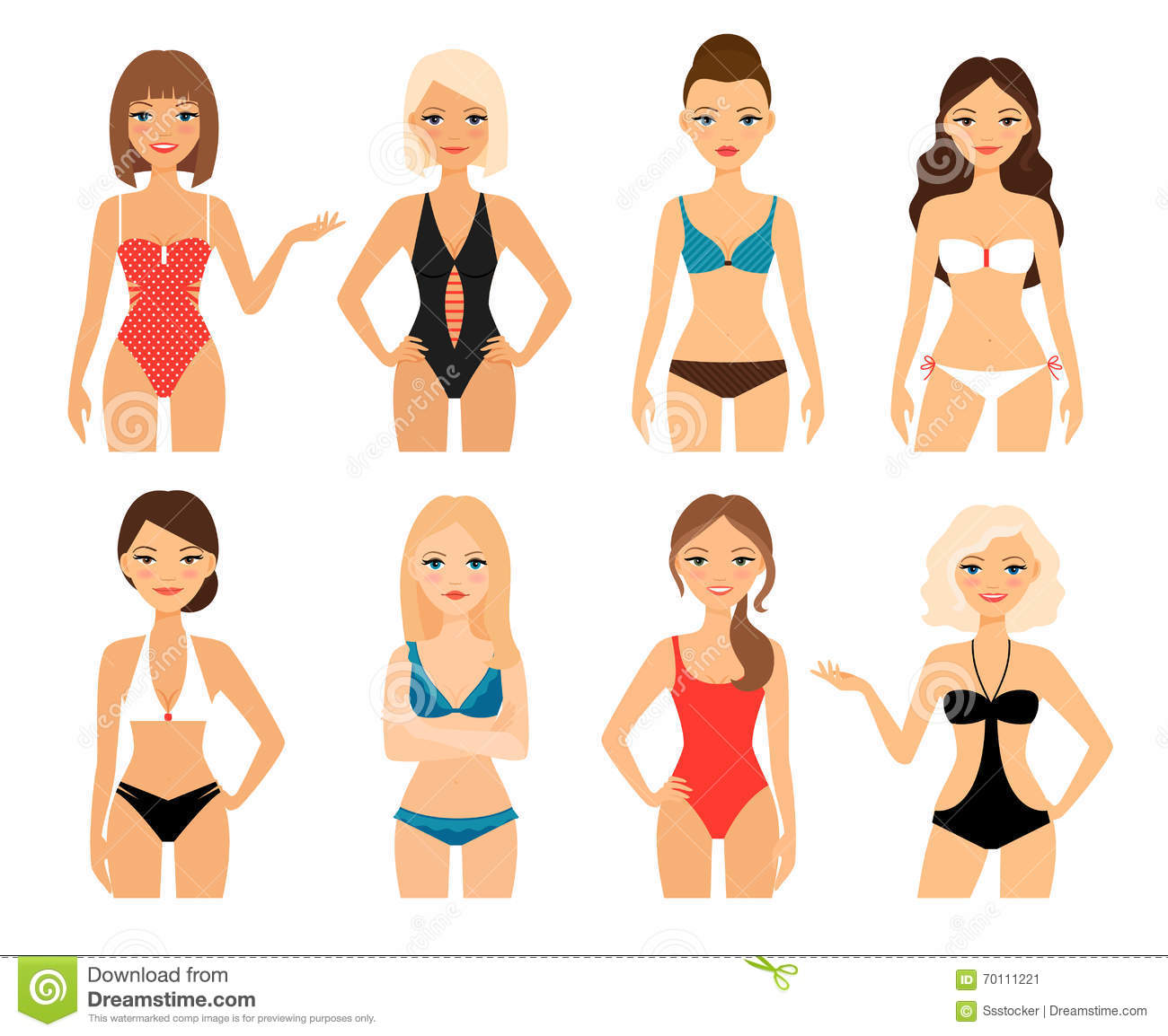 Women In Swimsuit Stock Vector - Image: 70111221