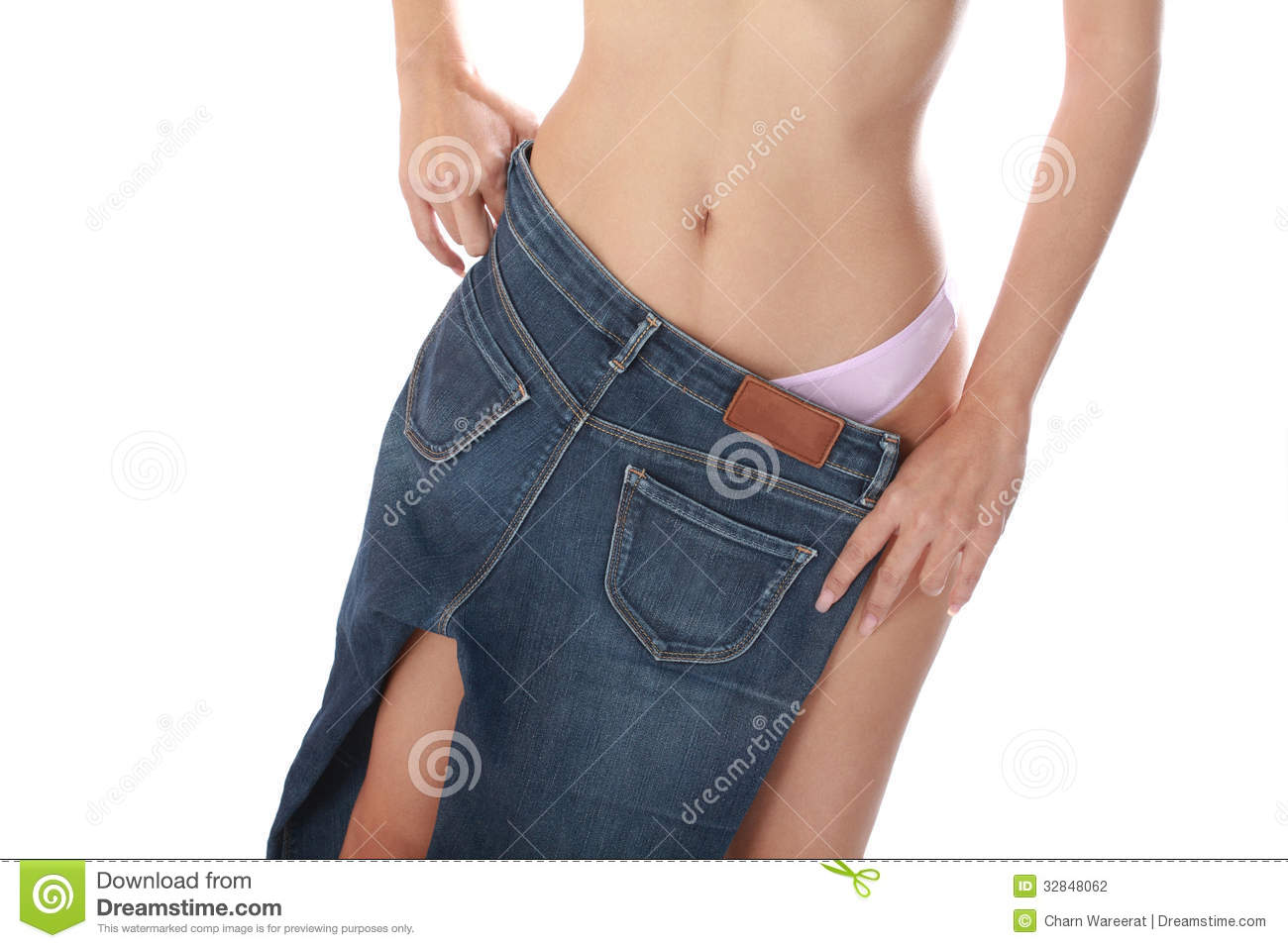 Women take off jeans. stock photo. Image of female, adult ...