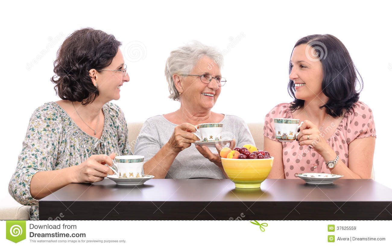 Group Women Friends Talking Coffee Stock Image Image Of