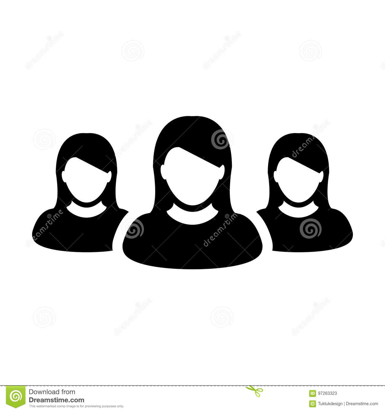 Crowd Of Indian Women Vector Avatars Stock Vector: Women Team Icon Vector User Group Of People Pictogram