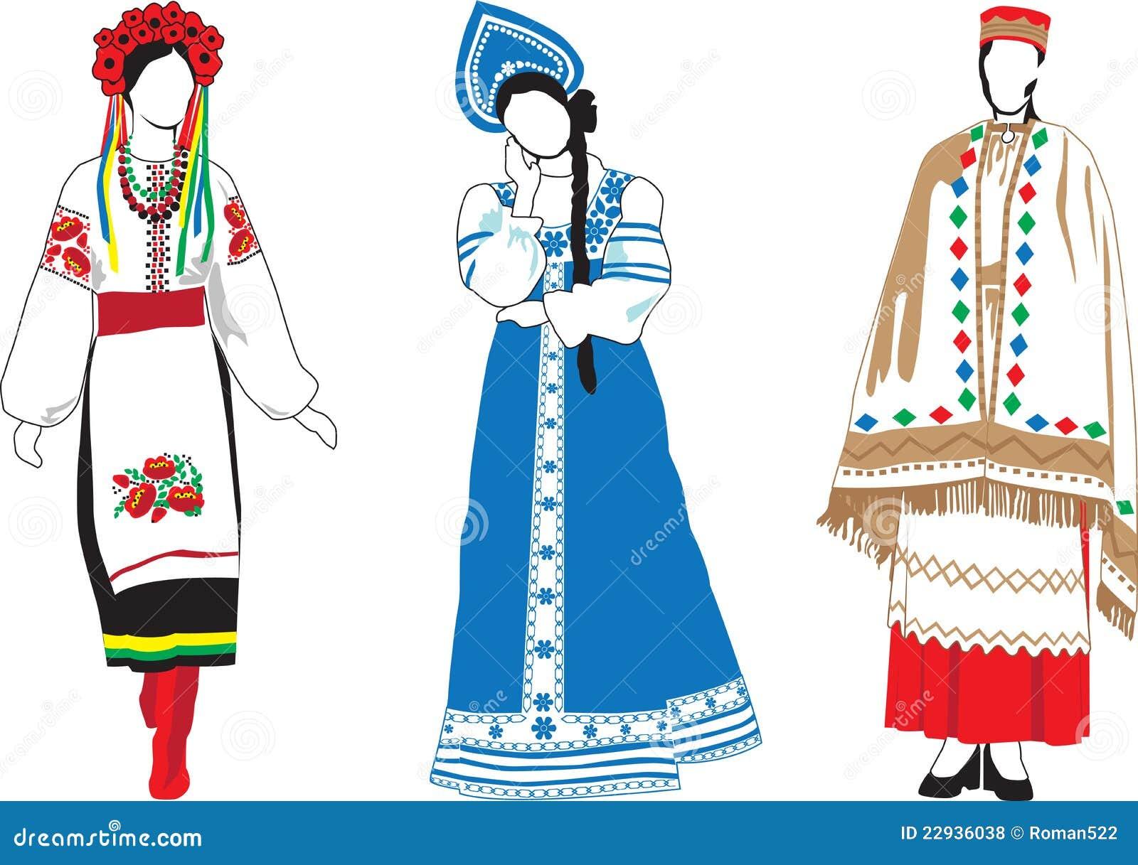 Женский национальный костюм рисунок