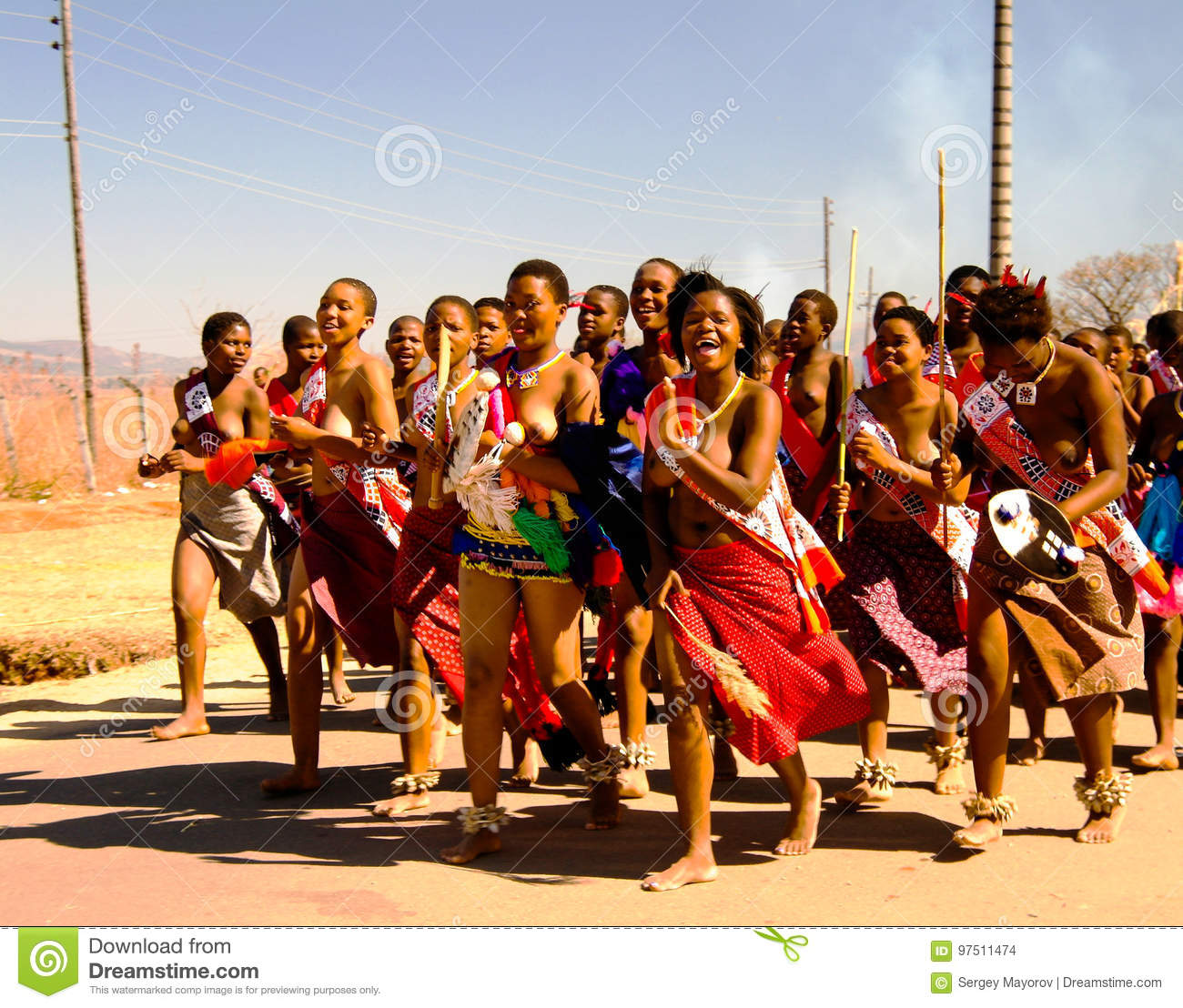 Swaziland women reed dance happens. can