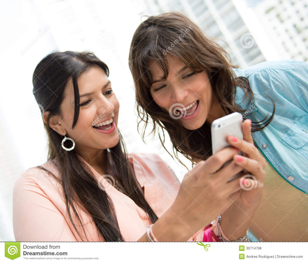 Women Using App On A Cell Phone Stock Photo Image Of