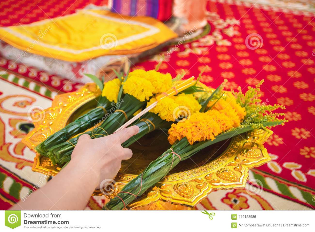Women Are Using Candles, Flowers, Incense, Pray For Priests  Stock