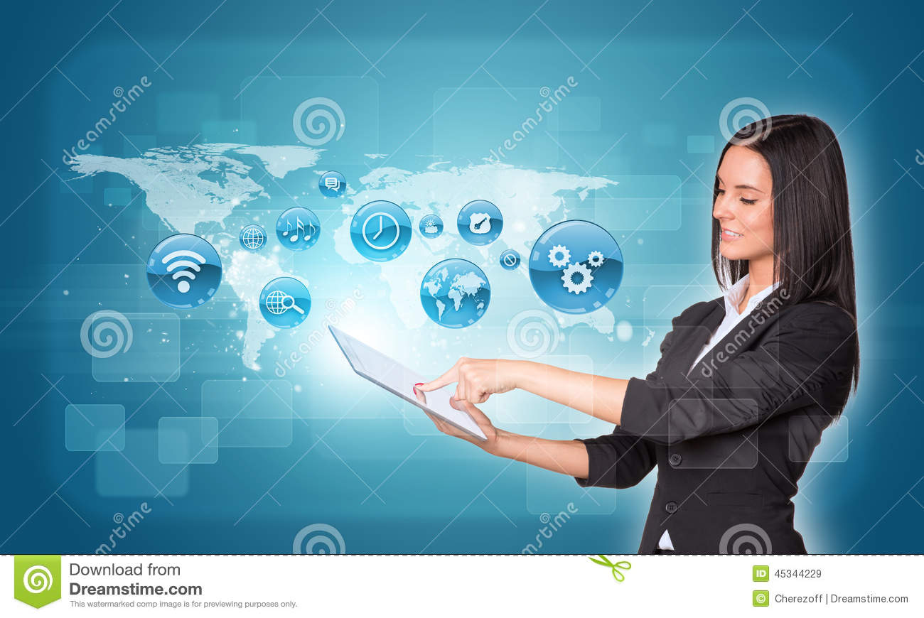 Women Using Digital Tablet And World Map With App Stock Photo