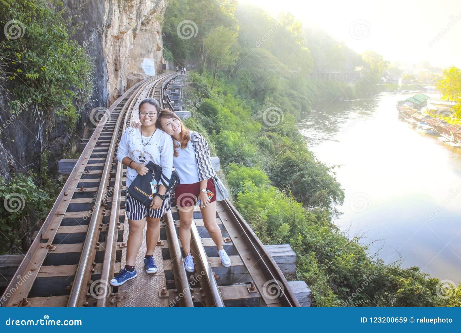 Women visit the Death Railway historical World War 2.