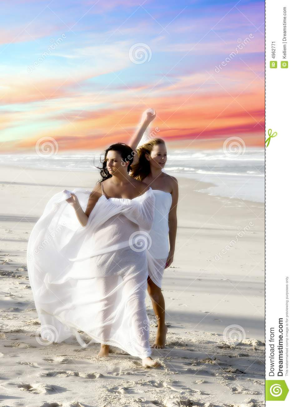 Woman walking on a beach royalty - Beach Sky Walk Walking White Women