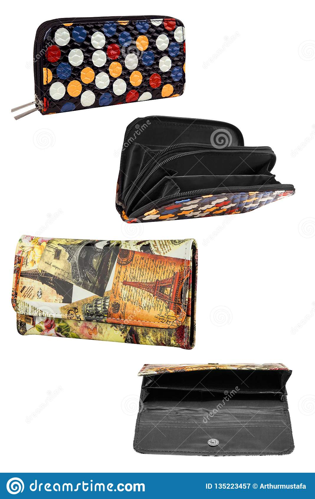 b9e79d98 Women wallets. Color stylish leather and fabric wallets collection, isolated  on white background, clipping paths included.