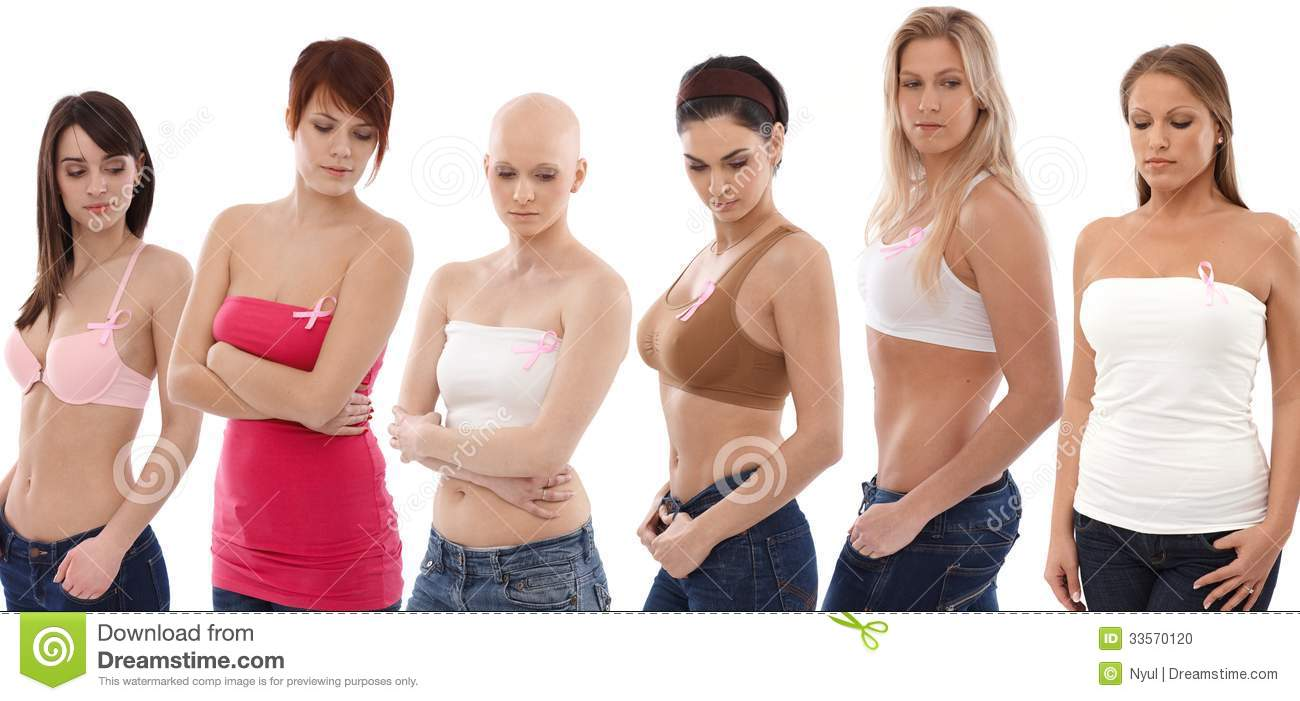 Women Wearing Breast Cancer Awereness Ribbon Stock Photo