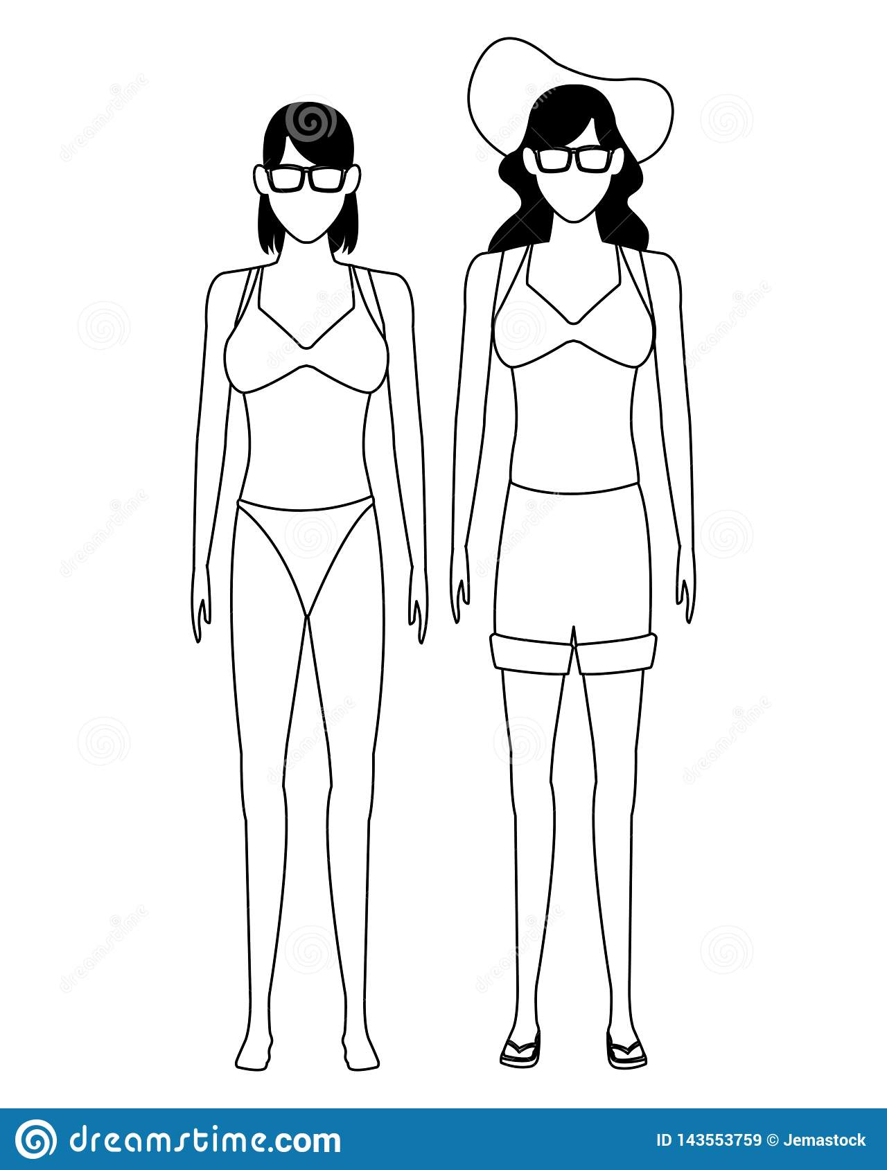 Women Wearing Summer Clothes Black And White Stock Vector