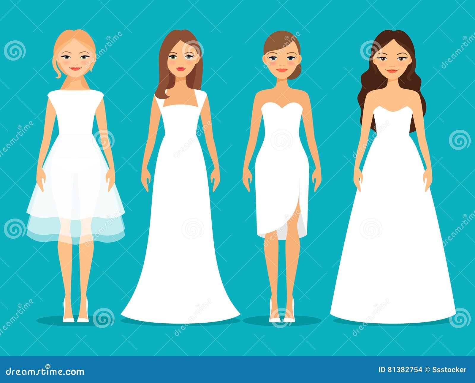 Women in wedding dresses