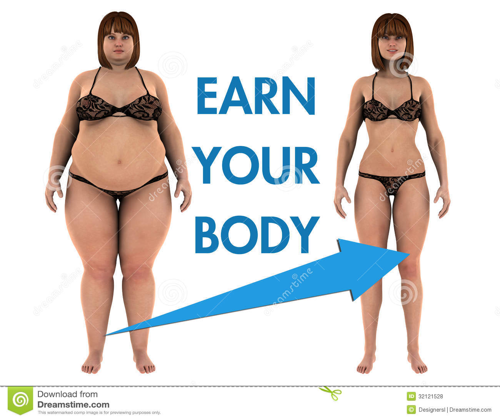 women weight loss earn your body stock illustration illustration