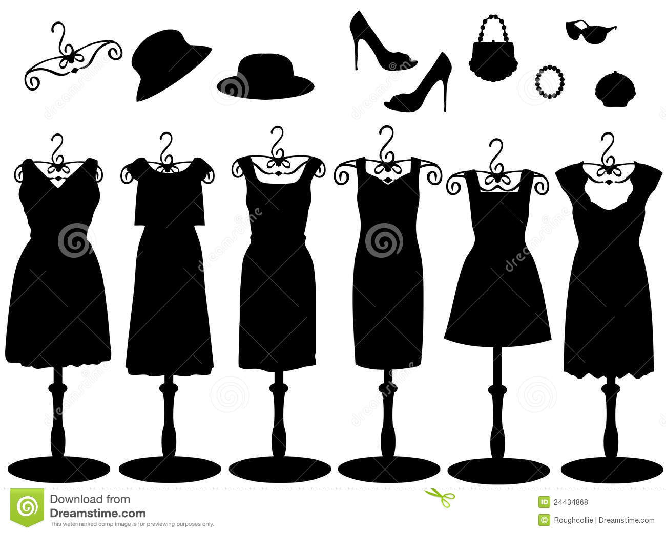 Womens Clothes Amp Accessories Silhouette Stock Illustration