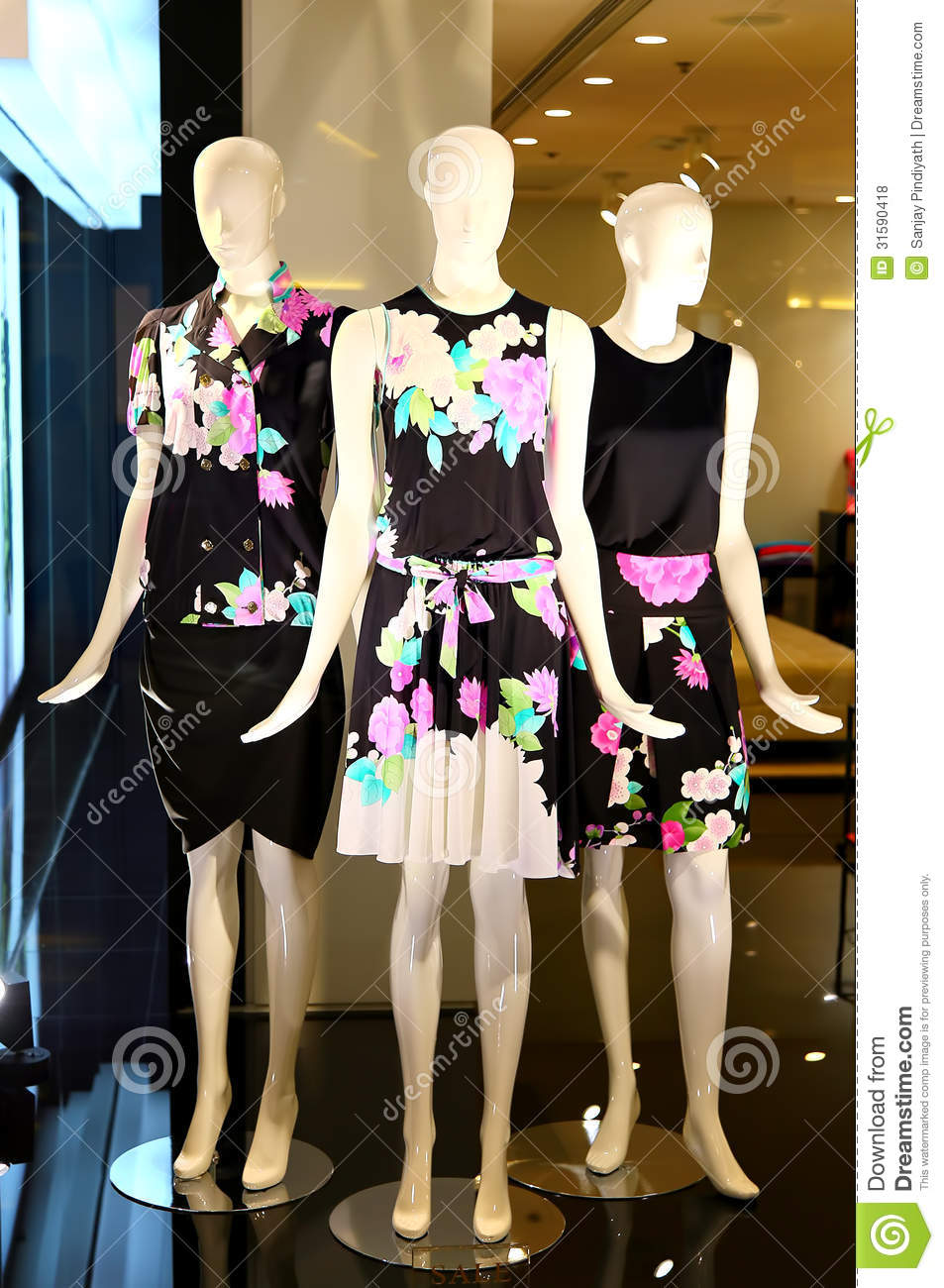 Contemporary women s clothing on display at a apparels boutique