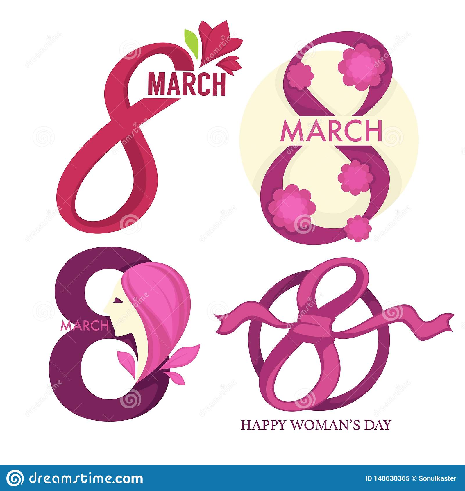 Womens Day Holiday 8 March Isolated Icon Tulip Flowers