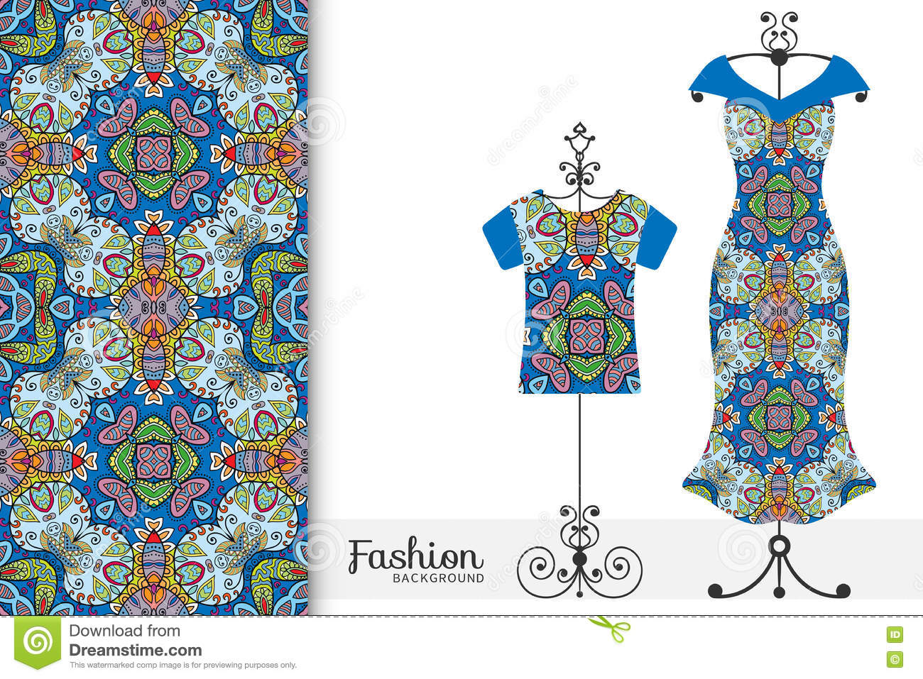 Womens Dress And T Shirt On A Hanger With Seamless Geometric Pattern Vector Fashion Illustration Stock Vector Illustration Of Hand Arabic 79996644