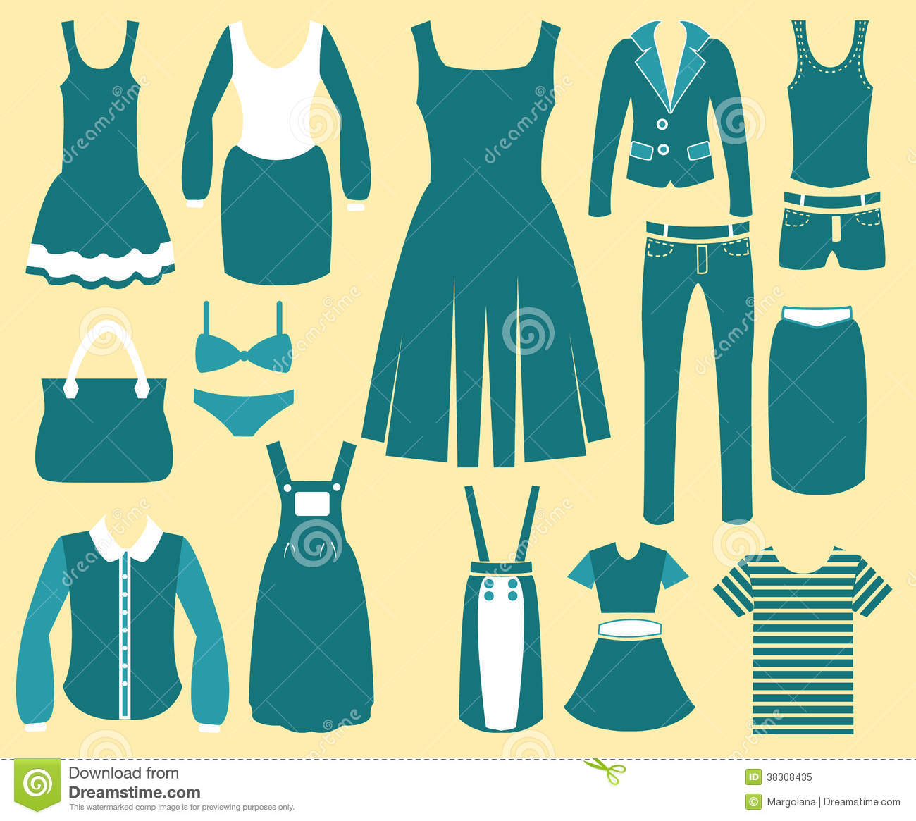 Womens Fashion Clothes Vintage Icons Stock Vector Illustration 38308435
