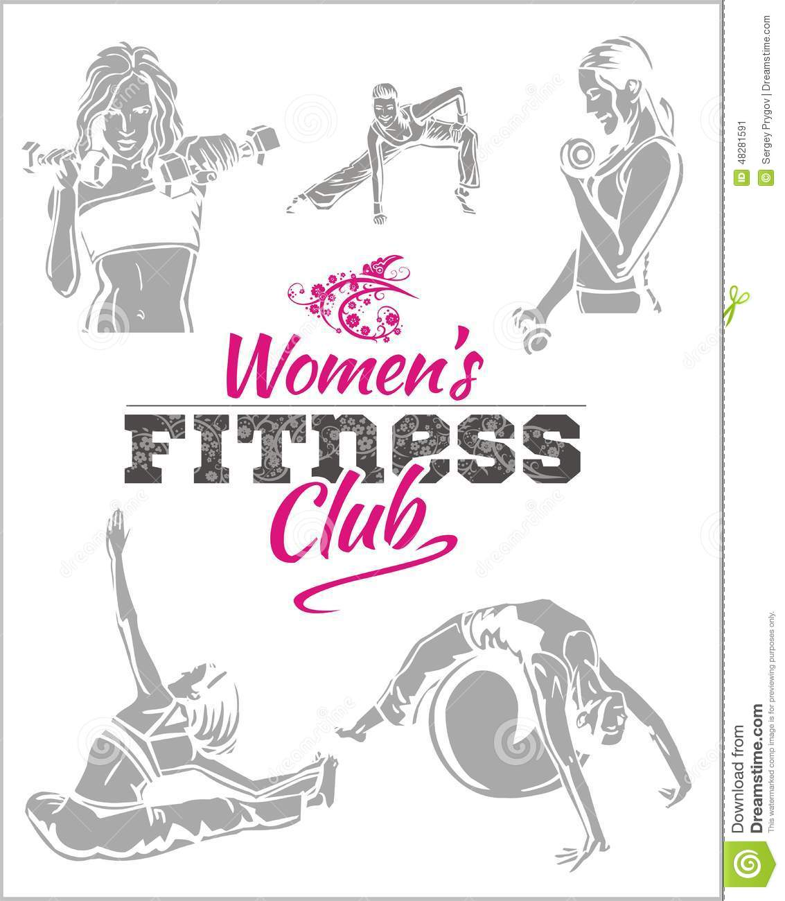 Womens fitness gym vector stock stock vector for Gimnasio fitness club