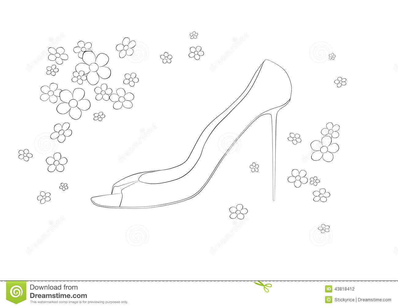 Shoe Flower Line Drawing : High heel shoes drawing stock photos royalty free images