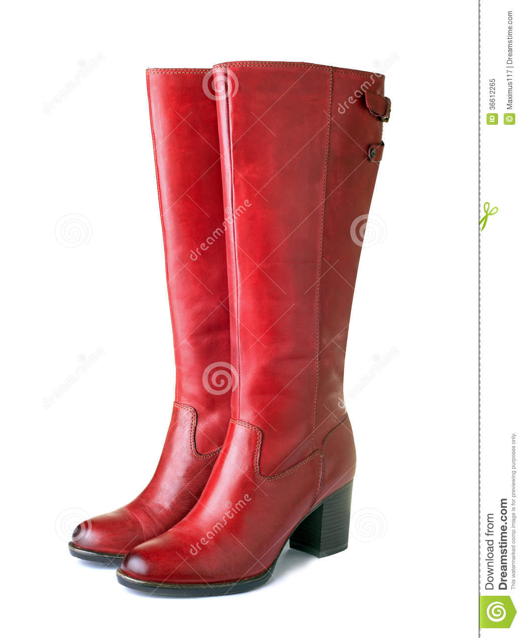Elegant pair of womens red boots isolated on a white background.