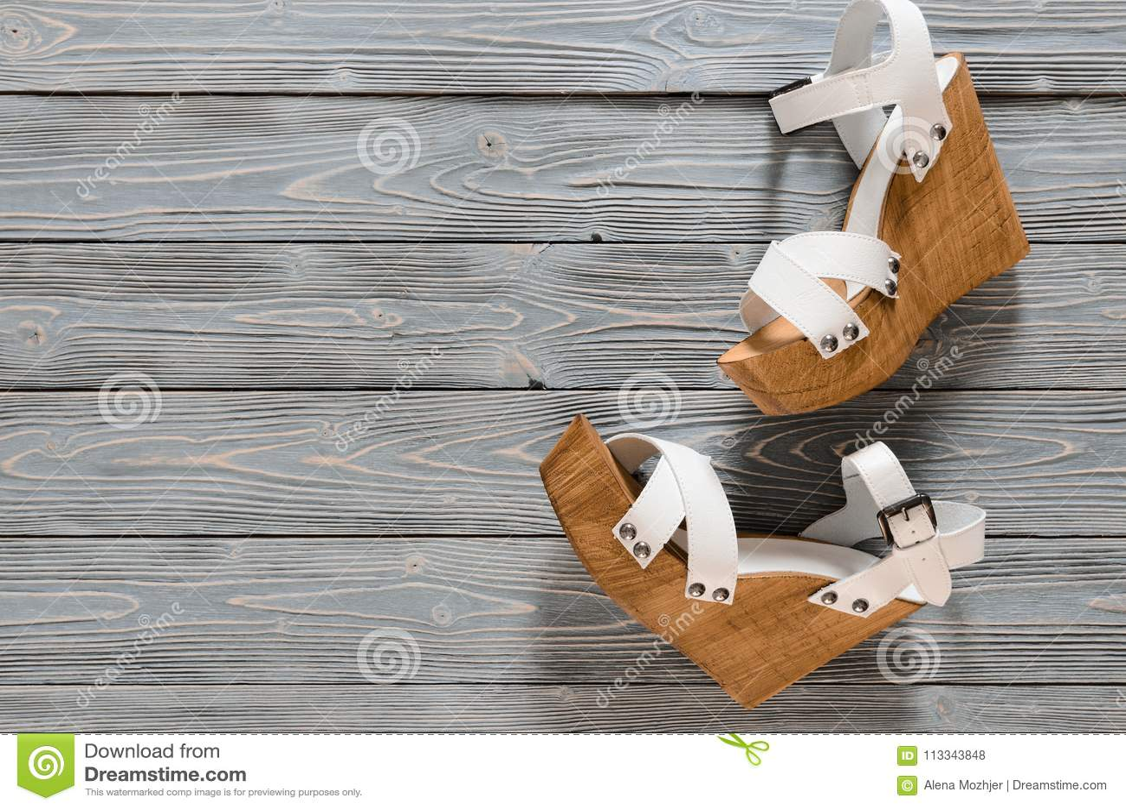 6c9eddae4e Womens Shoes Crisscross Wood Platform Wedges On Grey Wooden Ba Stock ...