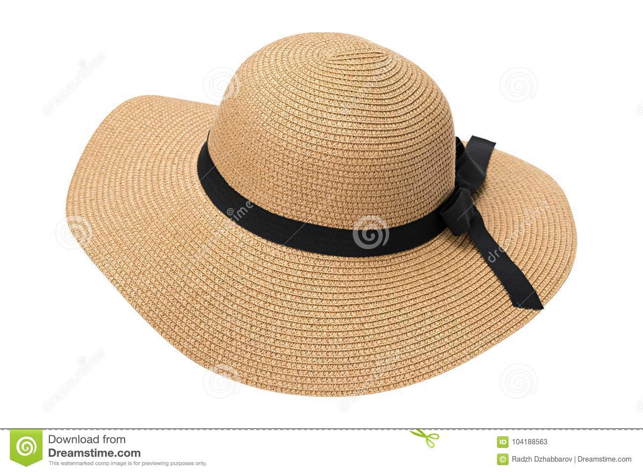 04f22a1d Womens summer yellow straw hat with the ribbon, isolated on white background  with clipping path