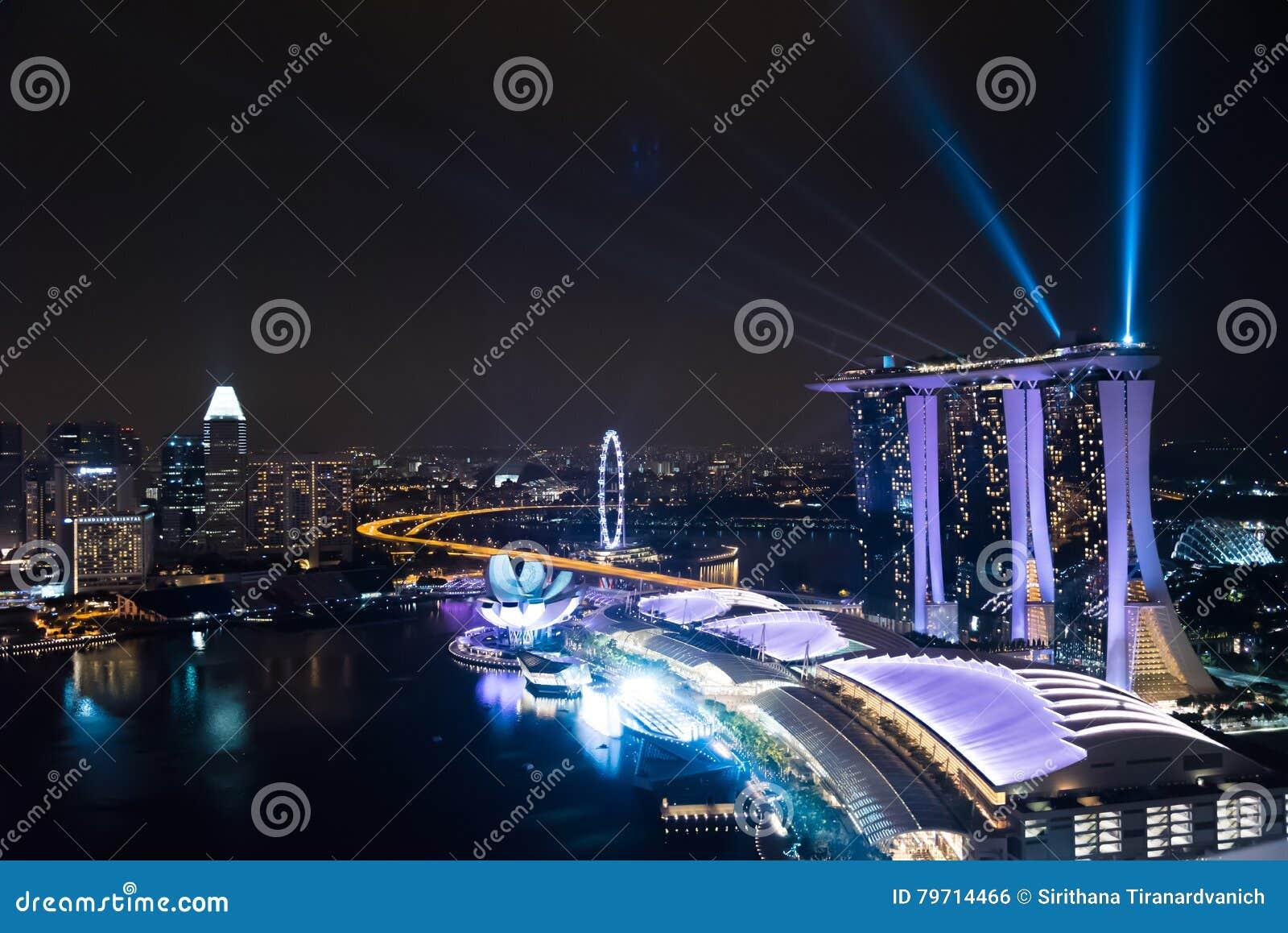 Aerial Asia Bay Full Largest Laser Light Marina Show