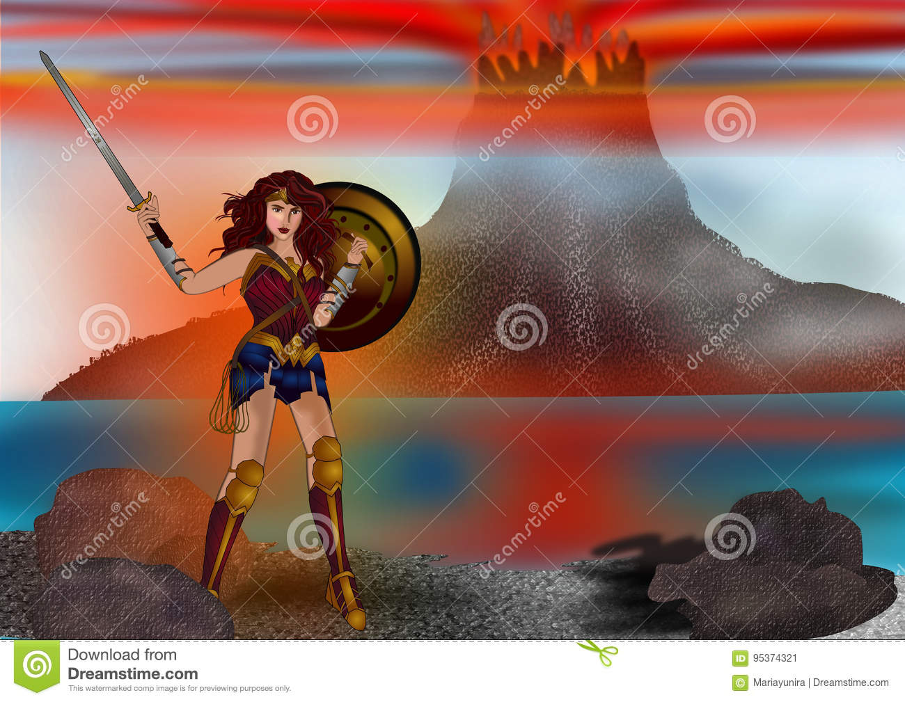 Wonder woman and the mountain background