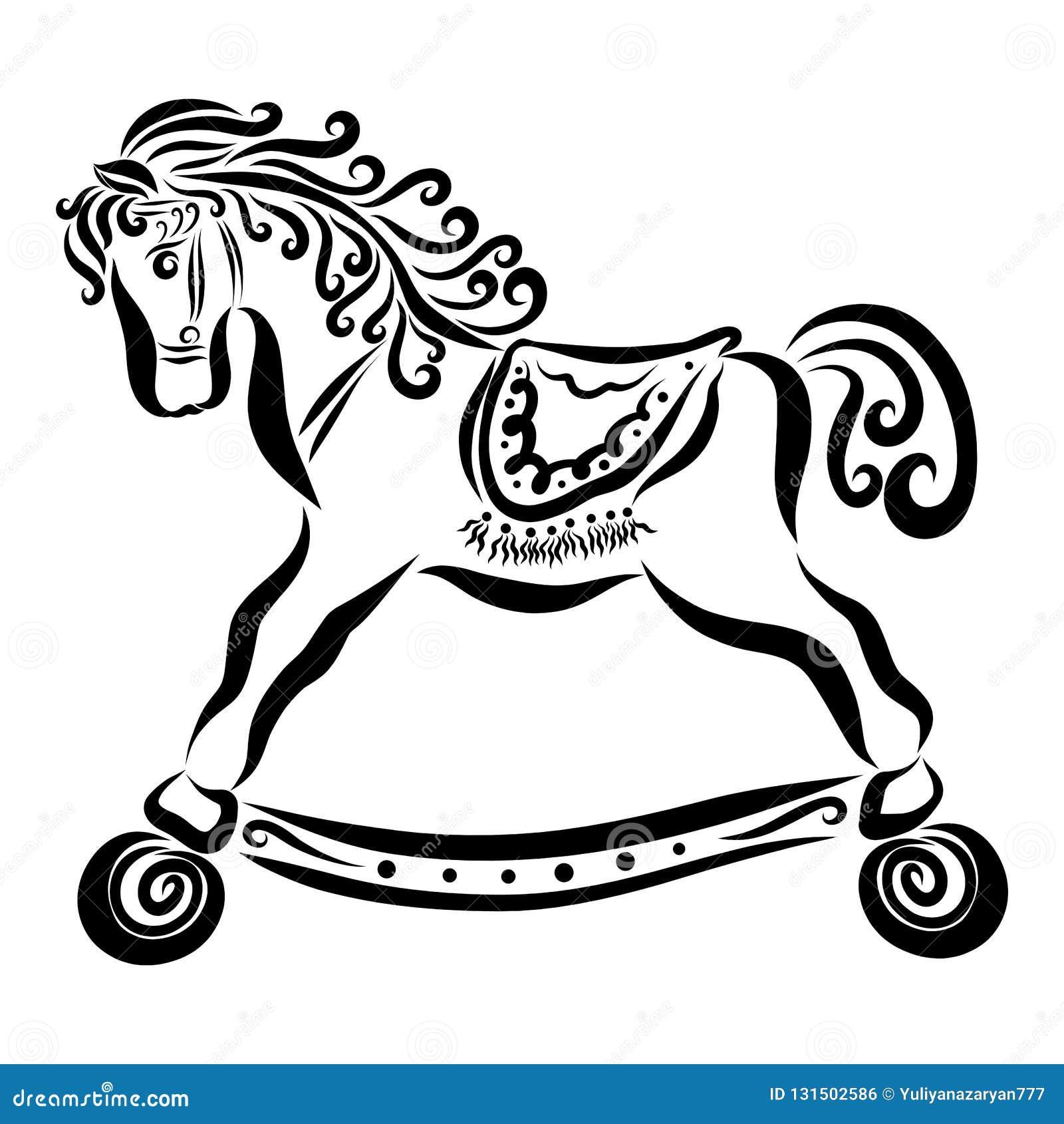 Wonderful baby horse on wheels with curly mane and saddle