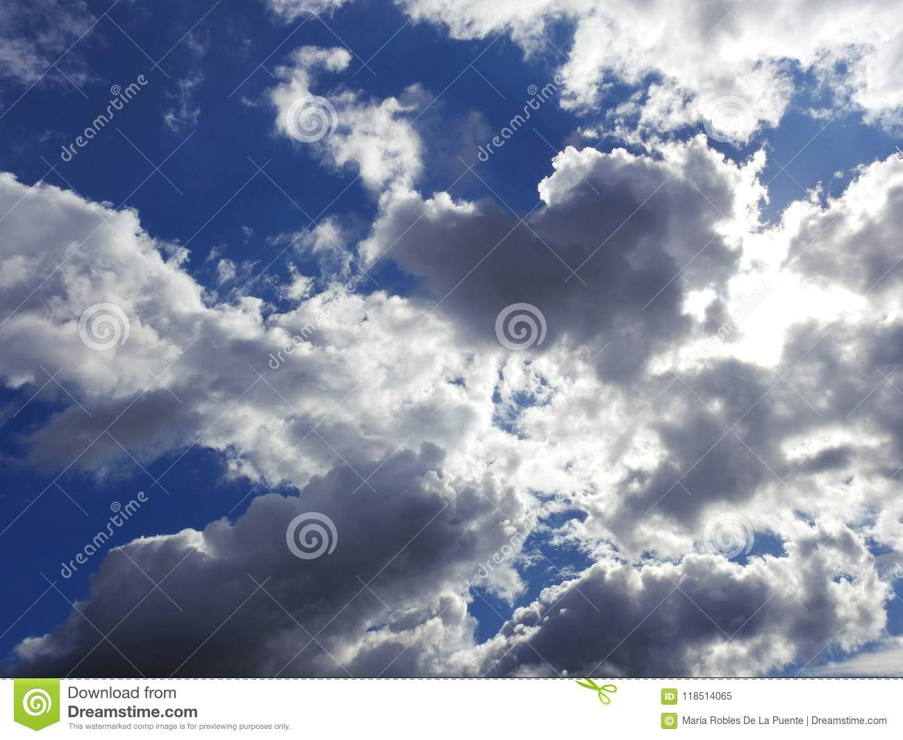 A wonderful blue sky with white and gray clouds