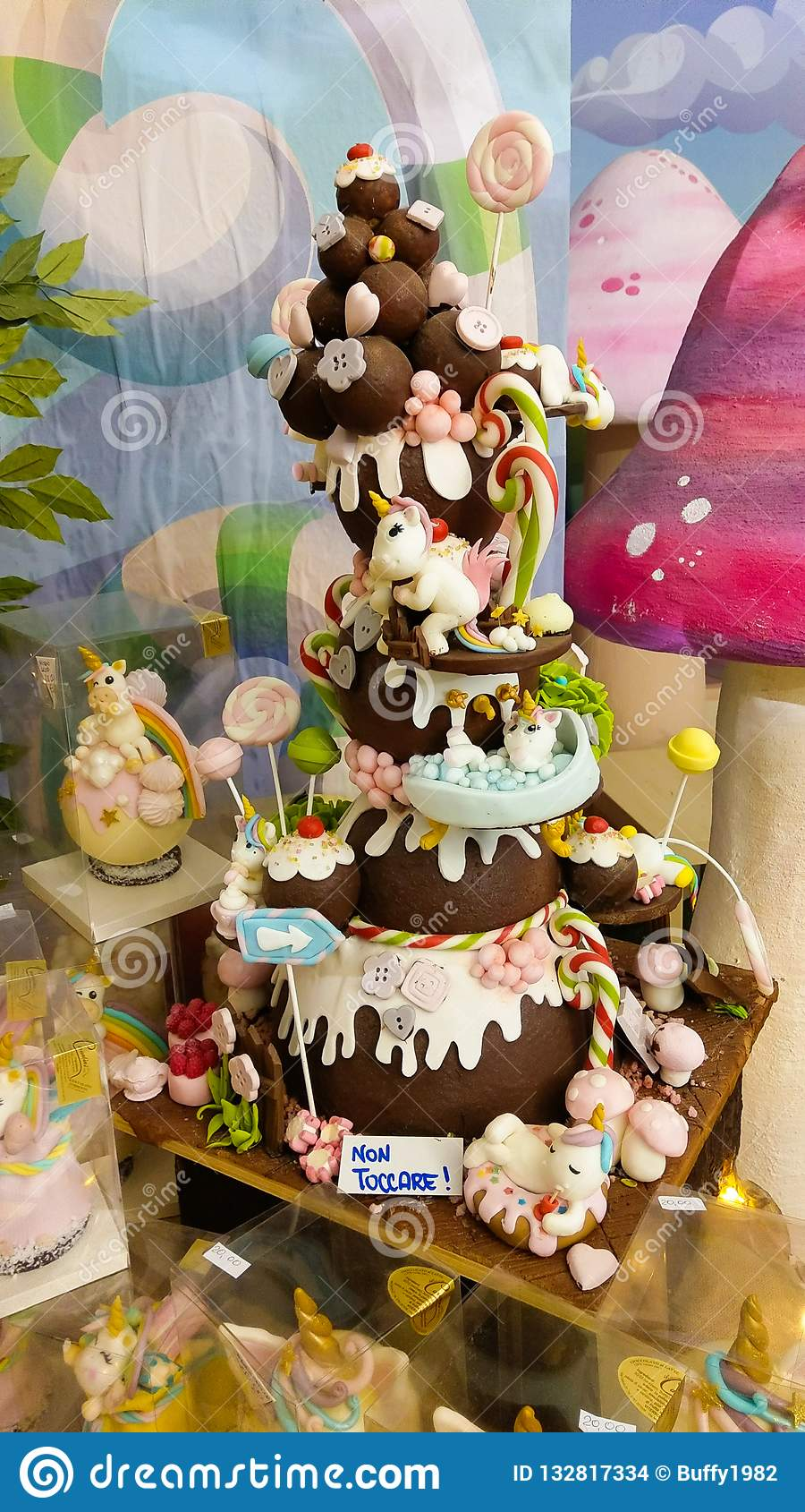 Wonderful cake with unicorn at the chocolate factory of Caffeina christmas village
