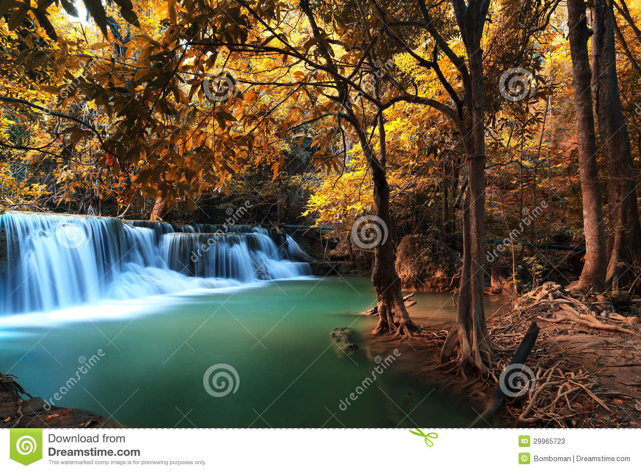 Autumn Deep Forest Waterfall in Kanchanaburi