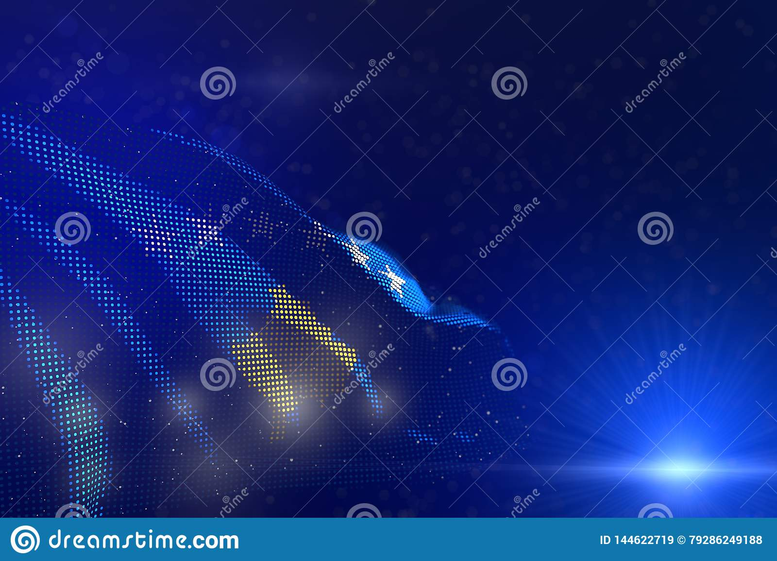 Pretty labor day flag 3d illustration - modern picture of Kosovo flag of dots waving on blue - selective focus and space for