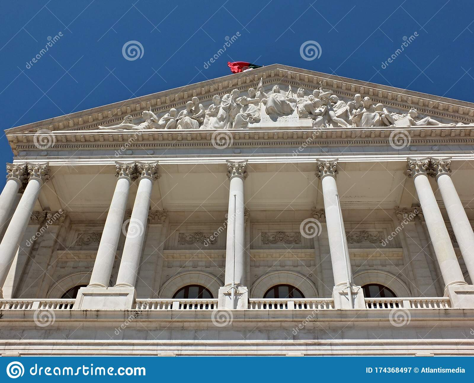 Historical Facade Of The Portugal Government In Lisbon Portugal Stock Image Image Of Parliament Classic 174368497