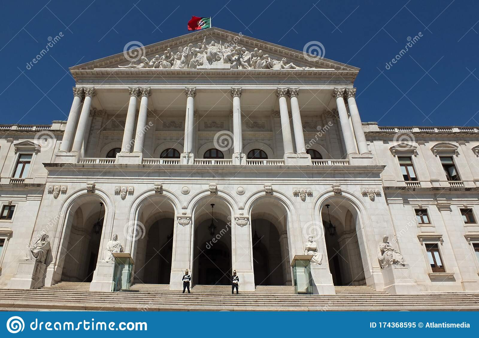 Historical Facade Of The Portugal Government In Lisbon Portugal Stock Image Image Of Portugal Lisbon 174368595