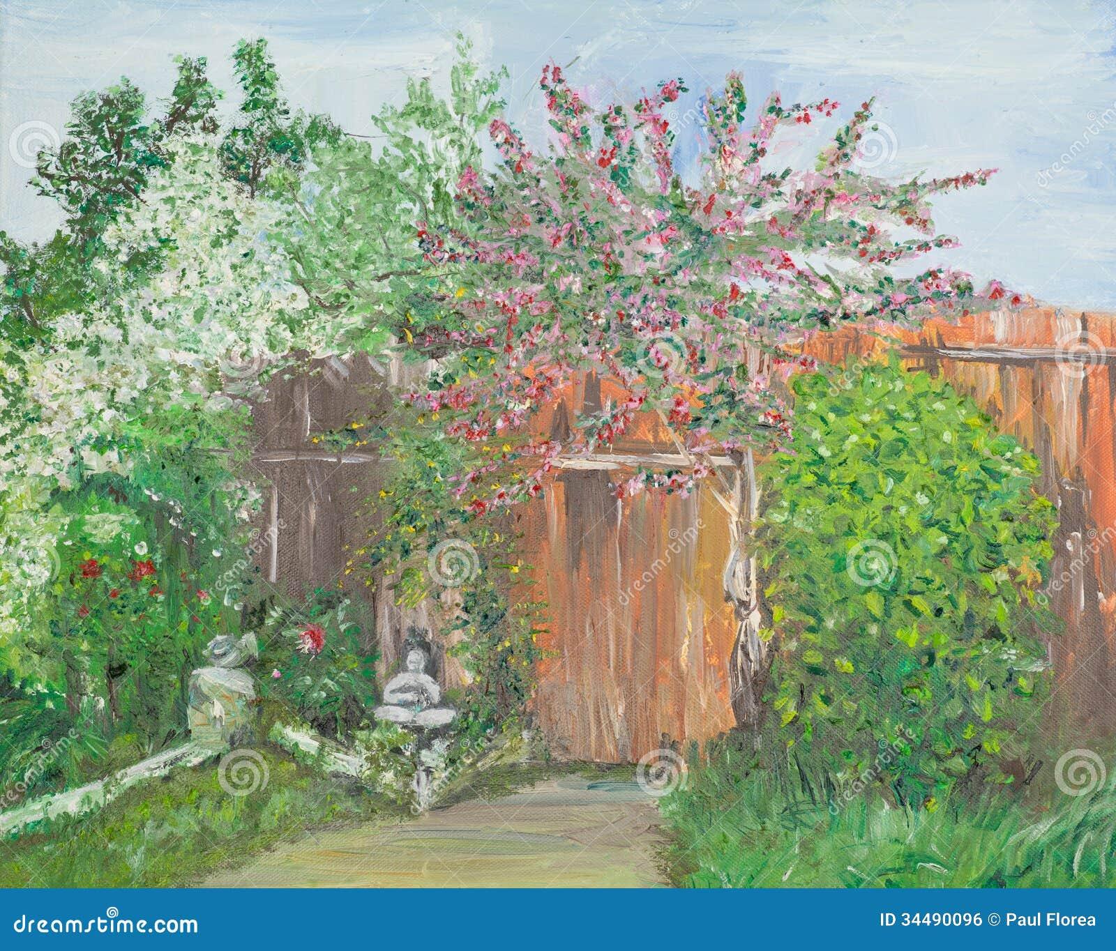 Wonderful Garden, Oil Painting Stock Illustration - Illustration of ...