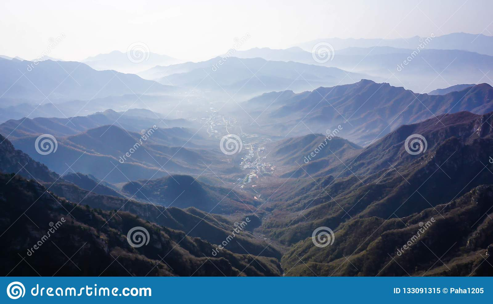 Wonderful landscape of a Chinese village from the top of the Great Wall of China
