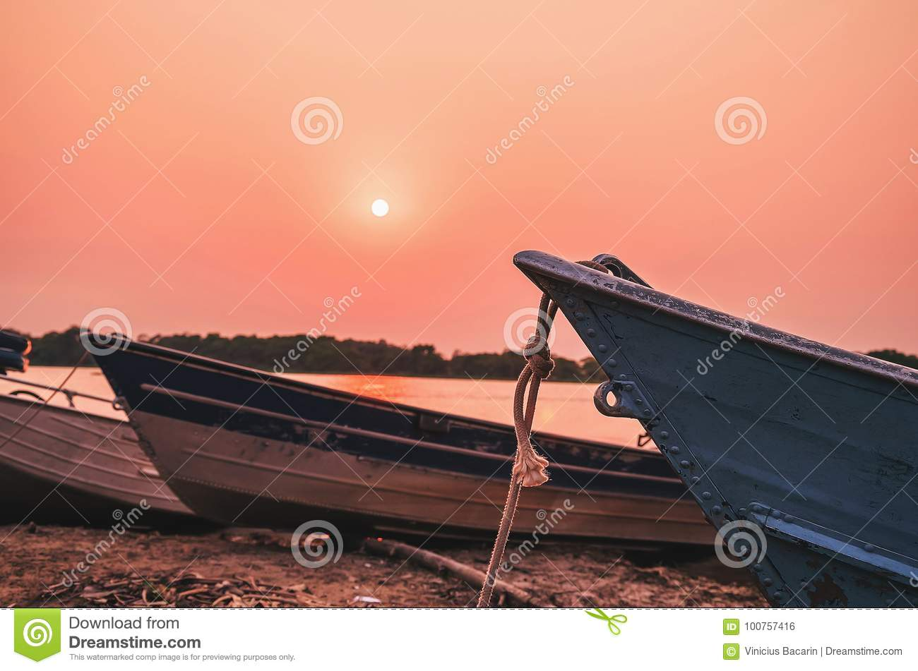 Wonderful landscape of old boats anchored in Pantanal, Brazil