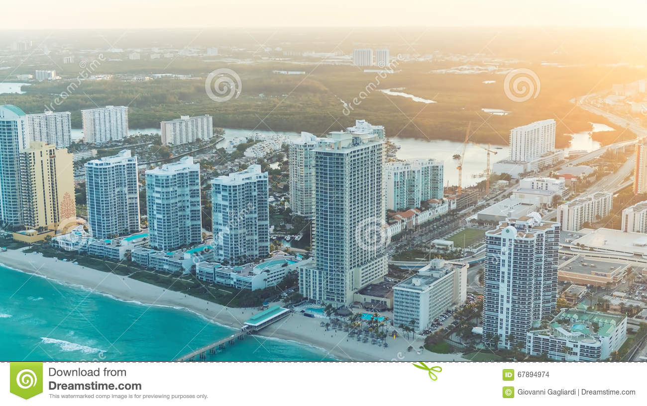Wonderful skyline of Miami at sunset, aerial view