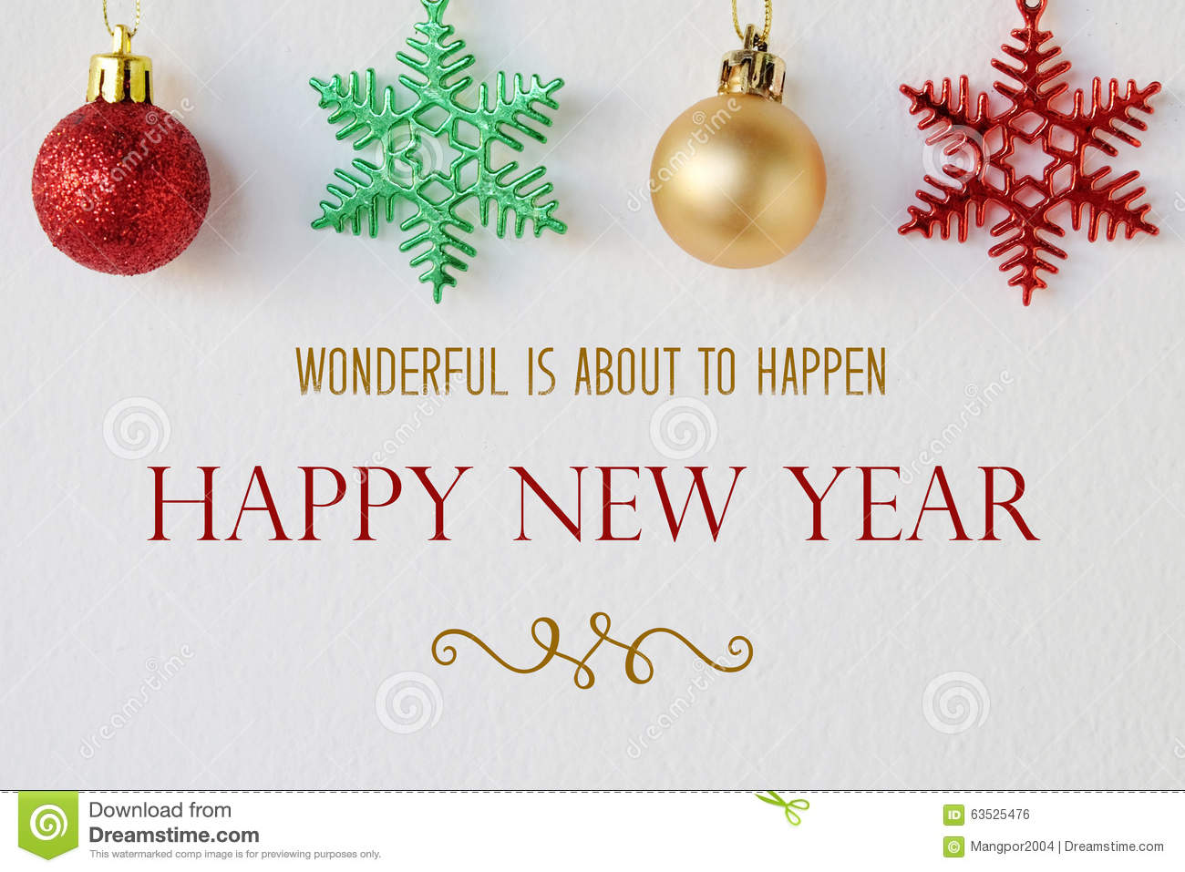Wonderful Is About To Happen, Happy New Year Quotation Stock Photo ...