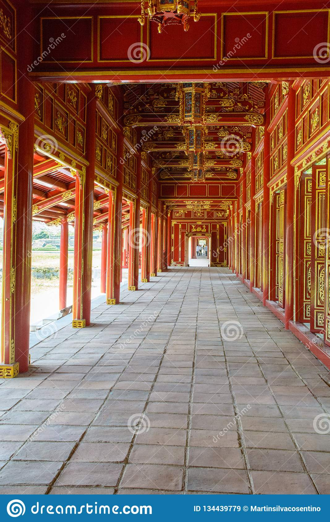 Wonderful view of the Meridian Gate to the Imperial City with the Purple Forbidden City within the Citadel in Hue, Vietnam