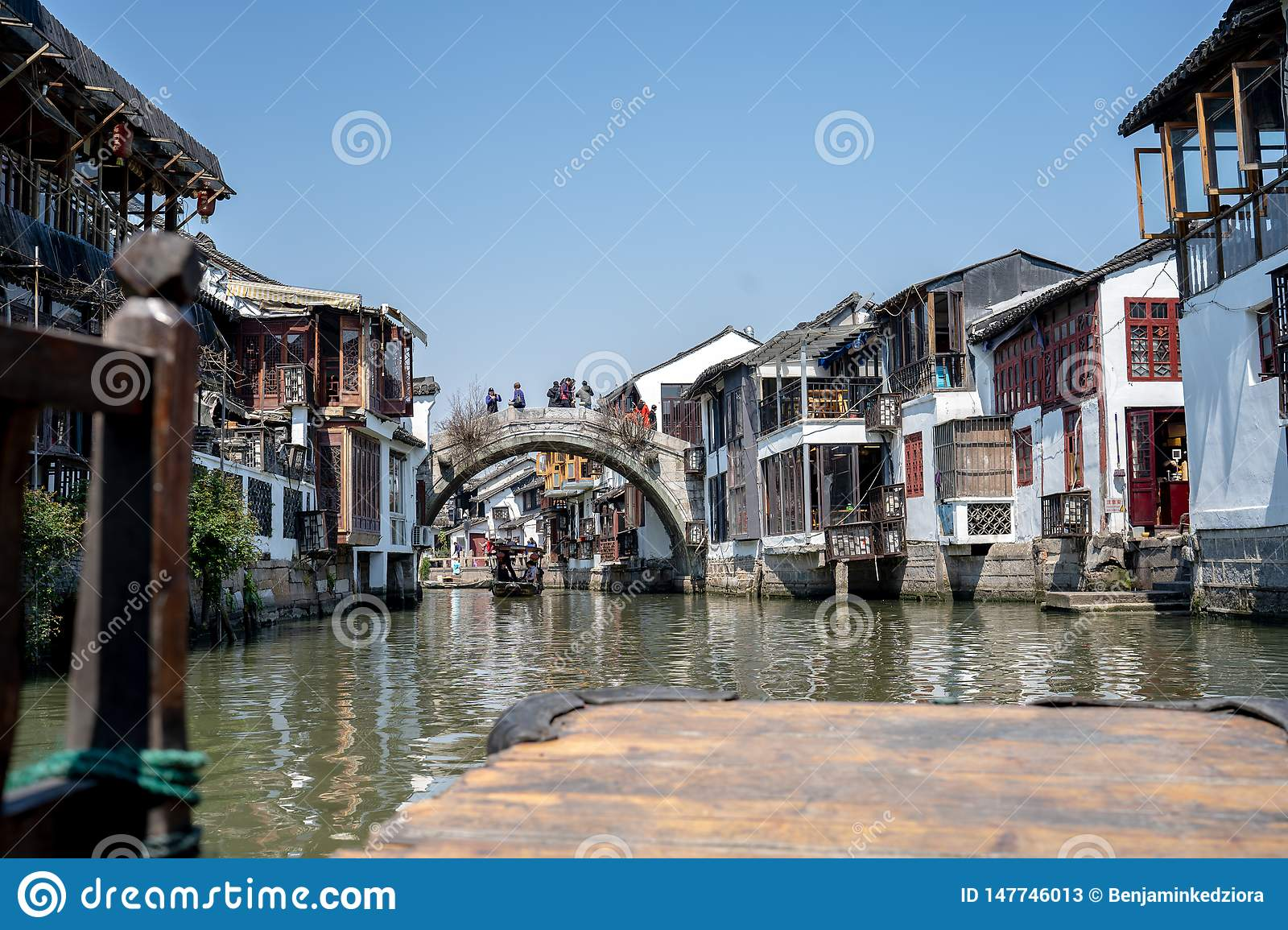 Wonderful View Zhouzhuang Water Town in an old Boat