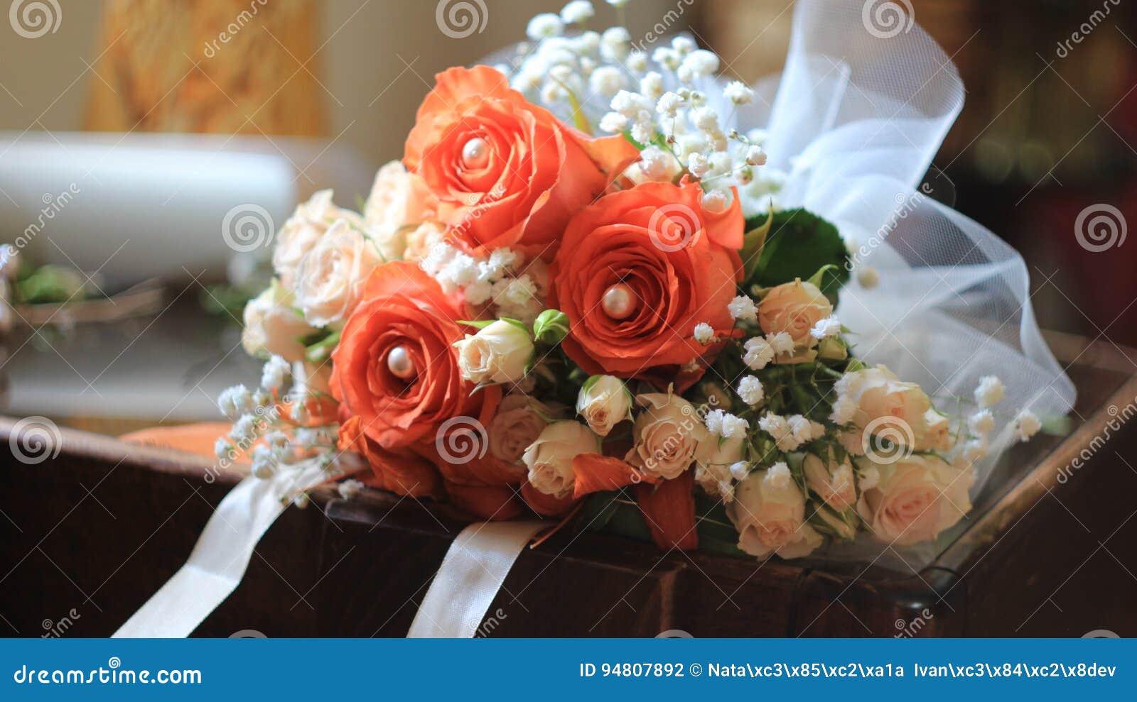 Wonderful Wedding Bouquet With Orange Rosesliliespearlswhite