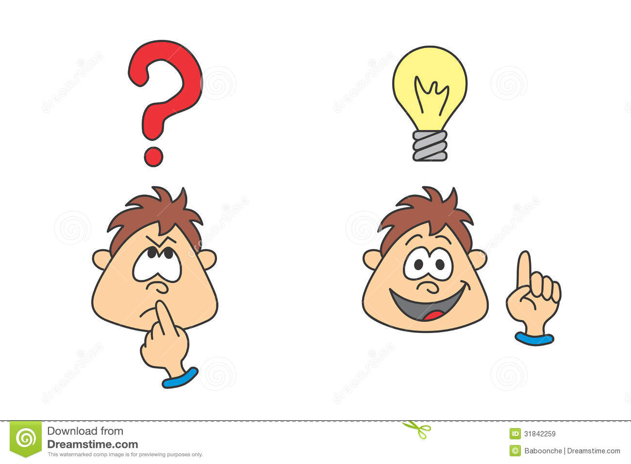Wondering boy with an idea stock vector. Illustration of ...