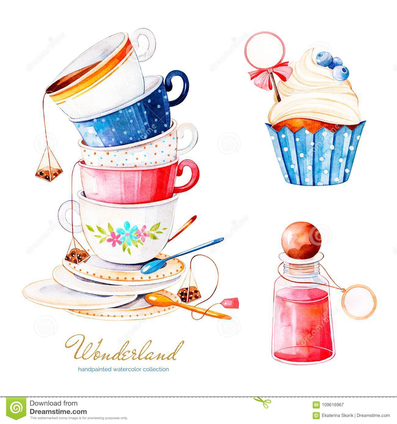 .Magical watercolor set with cupcake and bottle with label for your text