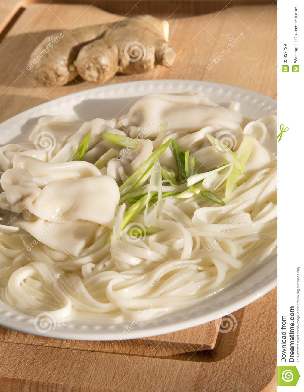 Delicious traditional Chinese wonton noodle soup .