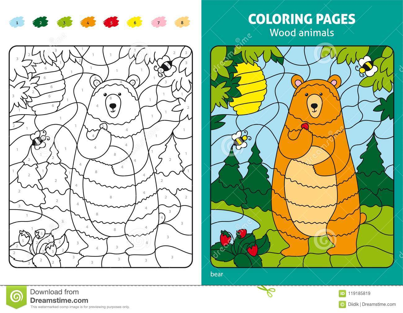 Wood Animals Coloring Page For Kids, Bear In Forest. Stock Vector ...