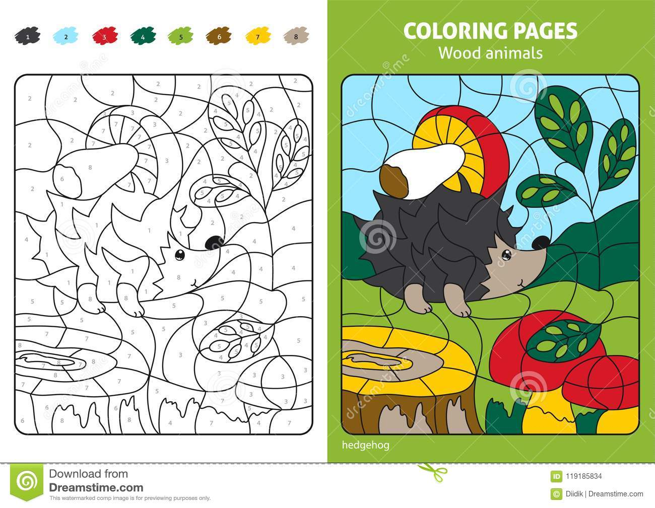 Wood Animals Coloring Page For Kids Hedgehog In Forest