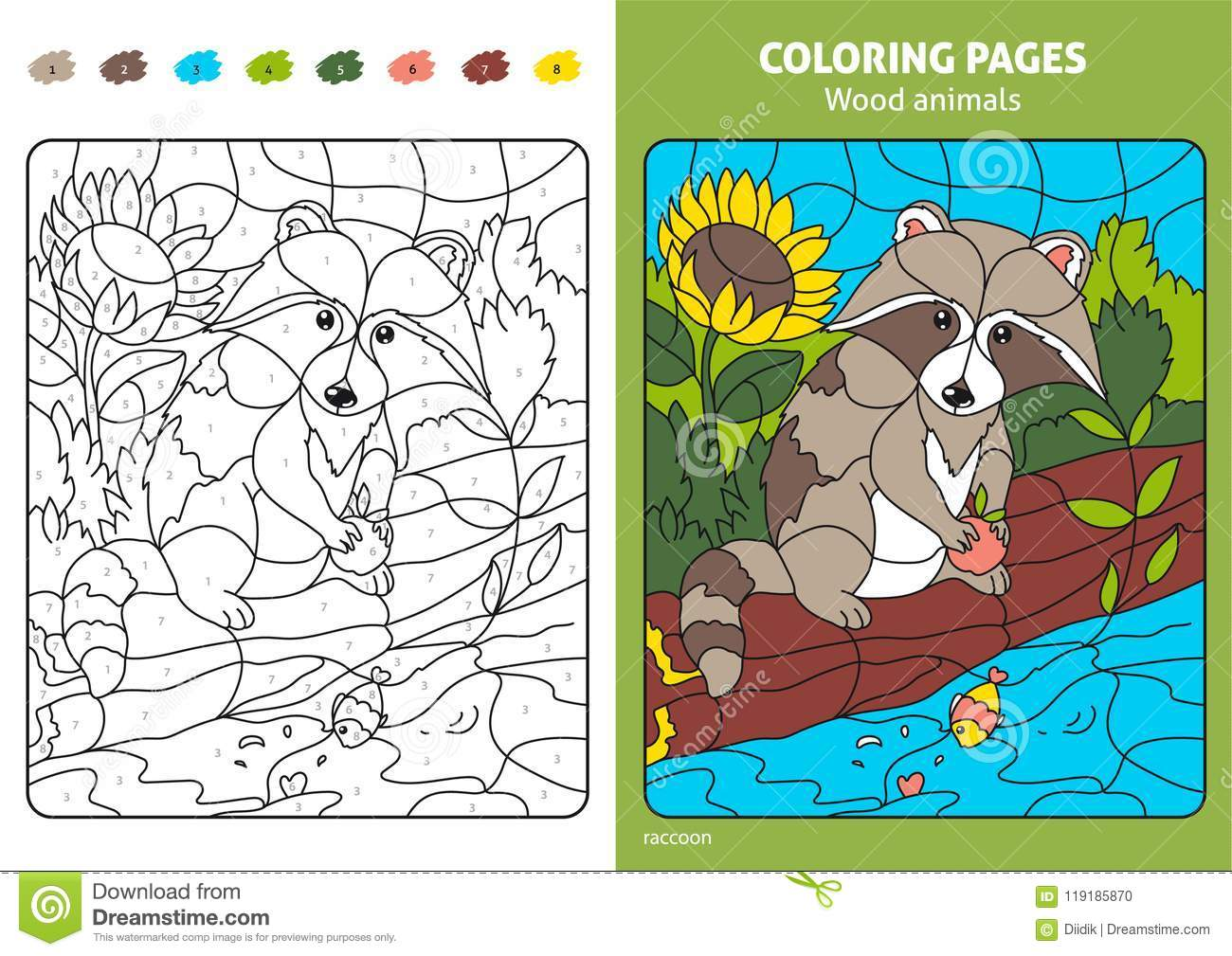 Wood Animals Coloring Page For Kids, Raccoon. Stock Vector ...